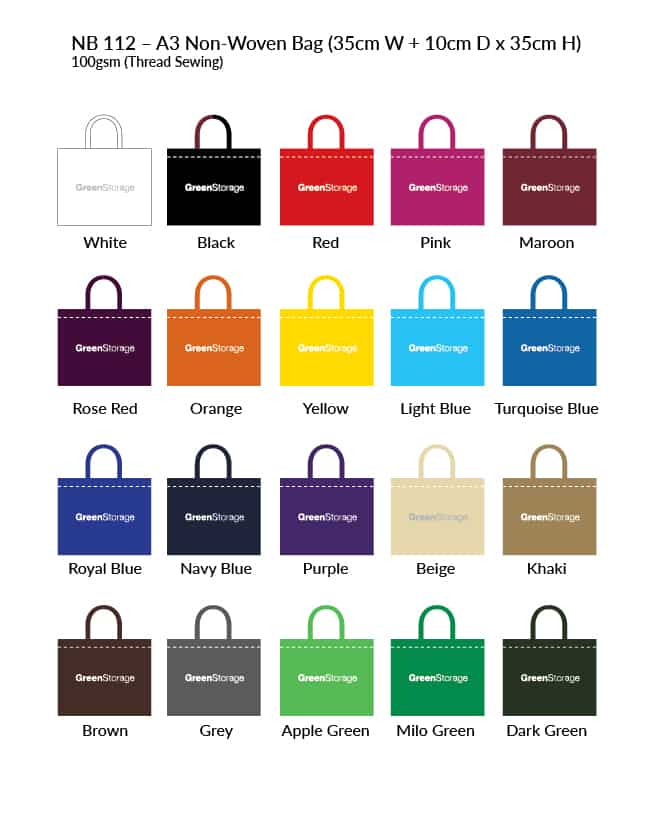 Non-Woven Bag NB112 Colour Chart