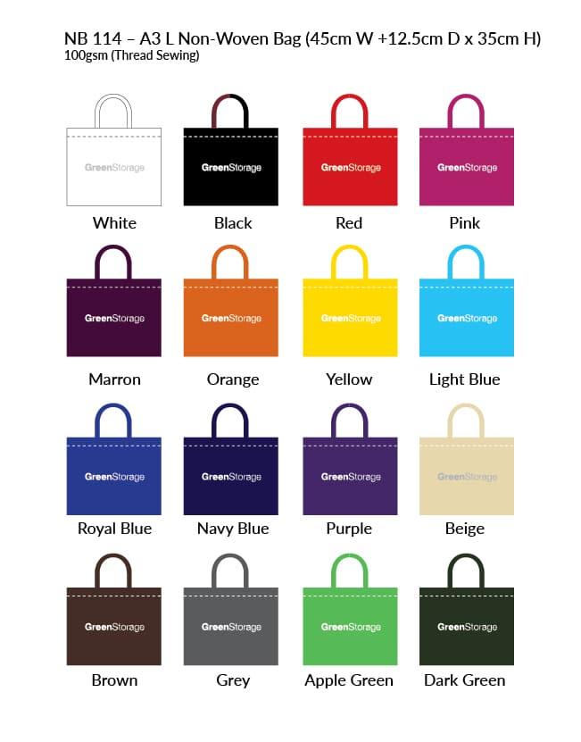 Non-Woven Bag NB114 Colour Chart