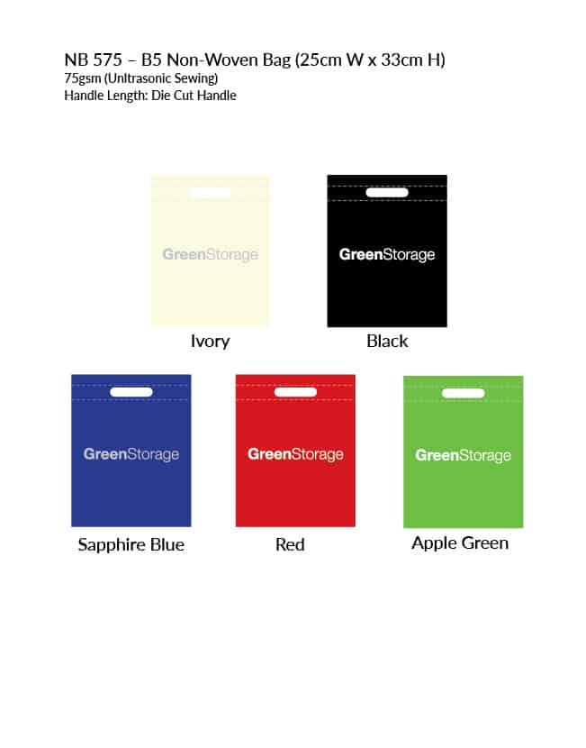 Non-Woven Flat Bag NB575 Colour Chart