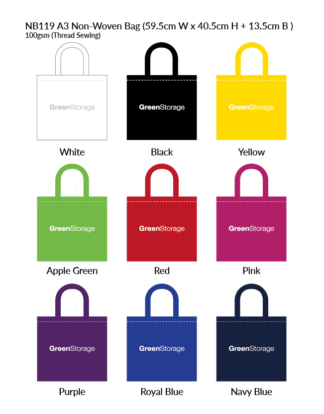 Non-Woven Bag NB119 Colour Chart