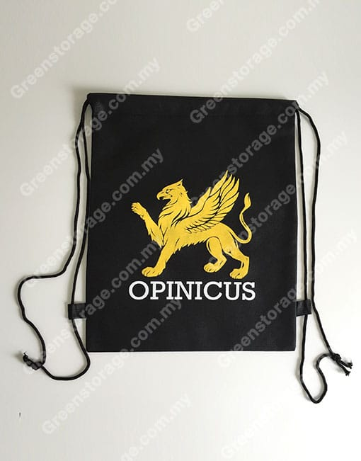 black non woven drawstring back pack