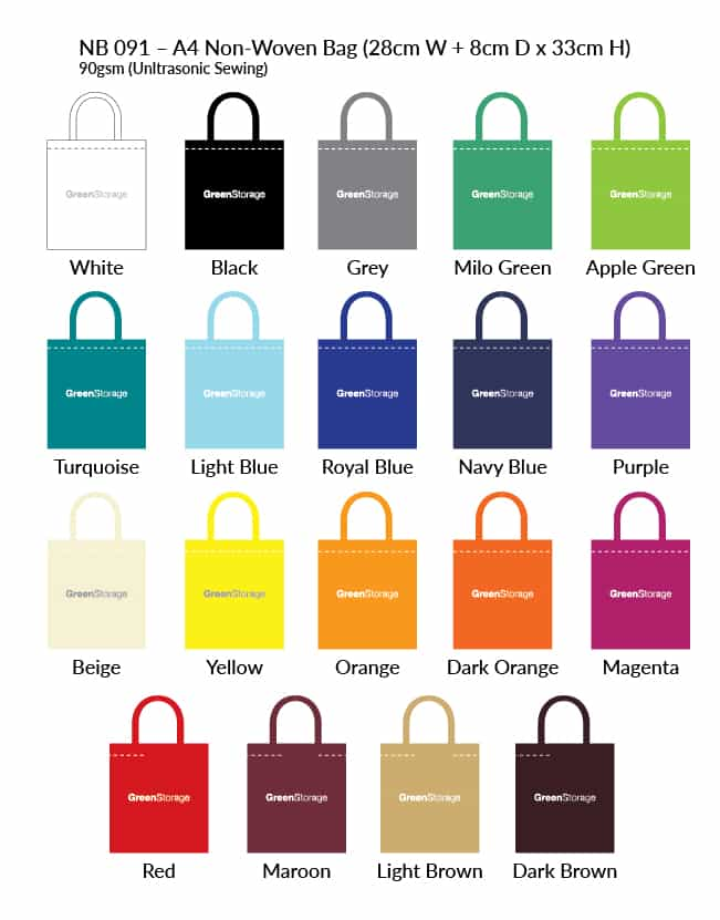 A4 Non Woven Bag Colour