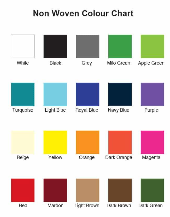 non woven colour chart